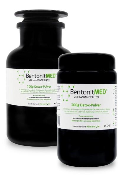 Bentonit MED® Detox-Pulver 900g für 90 Tage in Violettgläsern