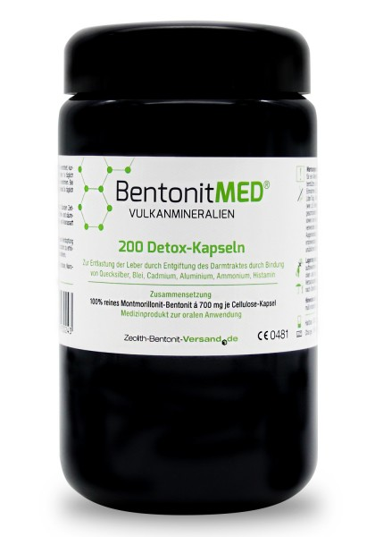 Bentonit MED® 200 Detox-Kapseln für 20 Tage im Violettglas