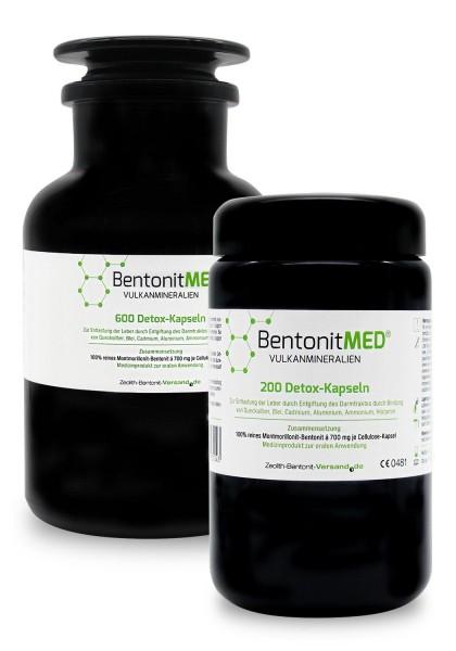 Bentonit MED® 800 Detox-Kapseln für 133 Tage in Violettgläsern