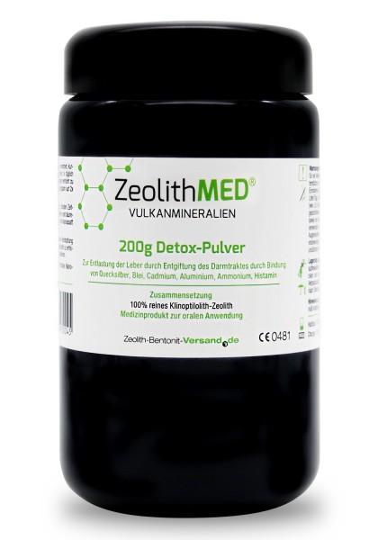 Zeolith MED® Detox-Pulver 200g für 20 Tage im Violettglas