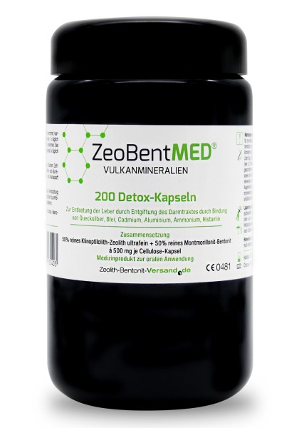 Zeobent MED® 200 Detox-Kapseln für 20 Tage im Violettglas
